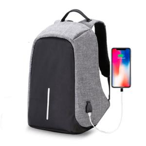 Рюкзак-антивор для ноутбука с USB портом до 15″ серый