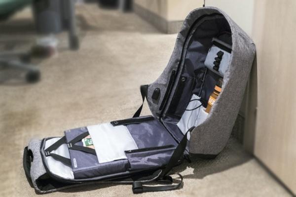 """Рюкзак-антивор для ноутбука с USB портом до 15"""" серый"""