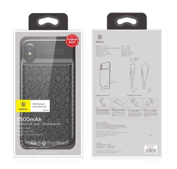 Дополнительный аккумулятор Baseus Power Bank Case 3500mah для iPhone X Белый