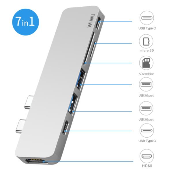 Мульти Хаб Wiwu USB-Type C HUB T8