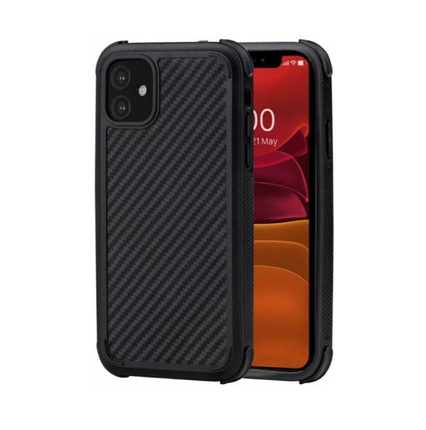 Противоударный карбоновый чехол Pitaka MagEZ Case PRO для iPhone 11 черно-серый в полоску