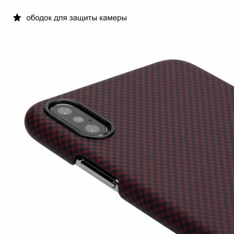 Чехол Pitaka MagEZ Case для iPhone XS Шахматное Плетение Черно-Красный
