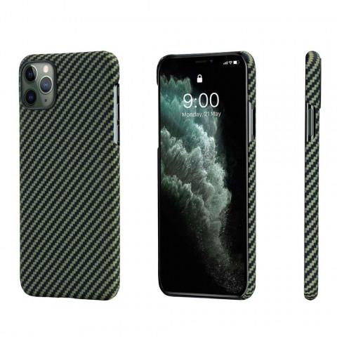 Кевларовый чехол Pitaka для iPhone 11 Pro Max Черно-Зеленый