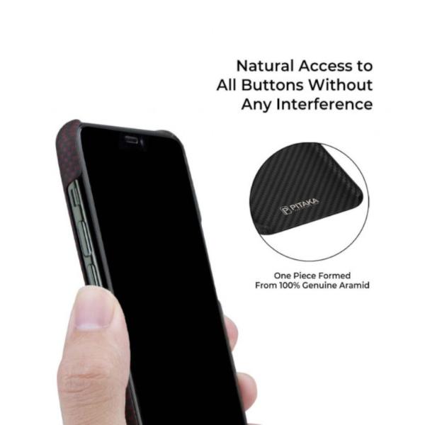 Кевларовый чехол Pitaka для iPhone 11 Pro Max Черно-Красный (Шахматное Плетение)