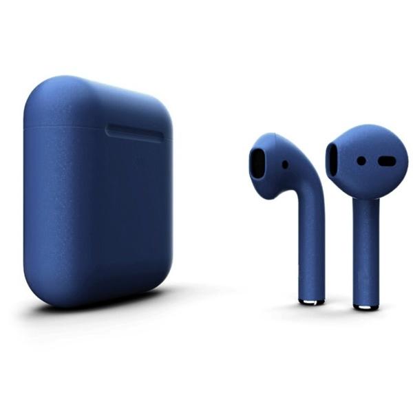 Беспроводные наушники Apple AirPods 2 Custom Edition синий матовый металлик
