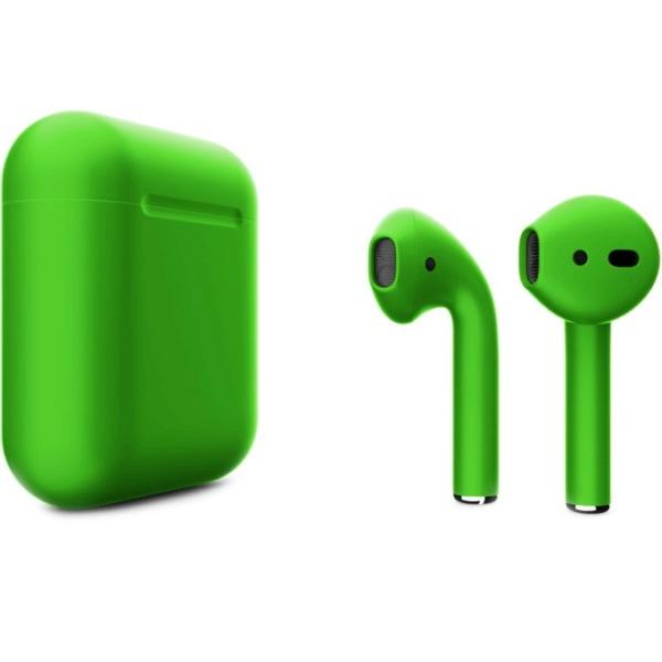 Беспроводные наушники Apple AirPods 2 Custom Edition зелёные матовые