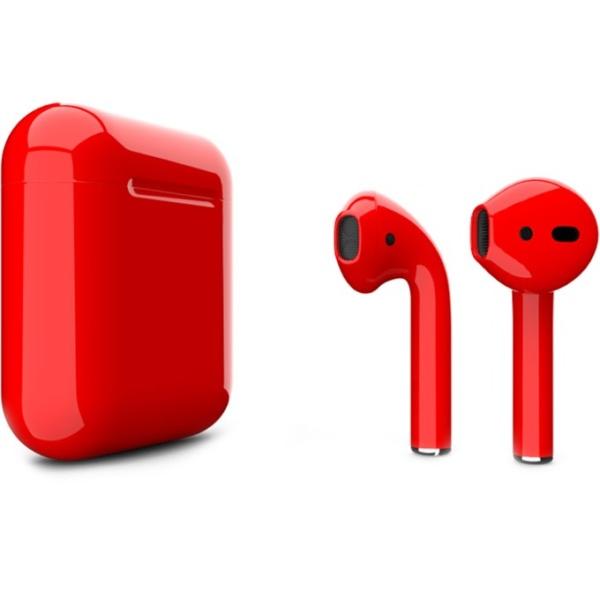 Беспроводные наушники Apple AirPods 2 Custom Edition красные глянцевые