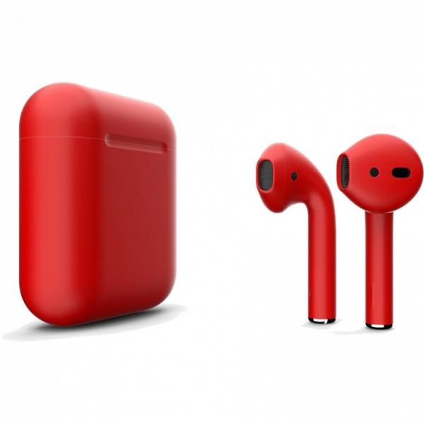 Беспроводные наушники Apple AirPods 2 Custom Edition красный матовый