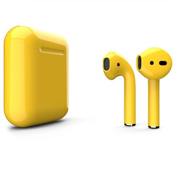 Беспроводные наушники Apple AirPods 2 Custom Edition жёлтые глянцевые
