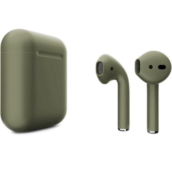 Беспроводные наушники Apple AirPods 2 Custom Edition болотно-зелёные матовые