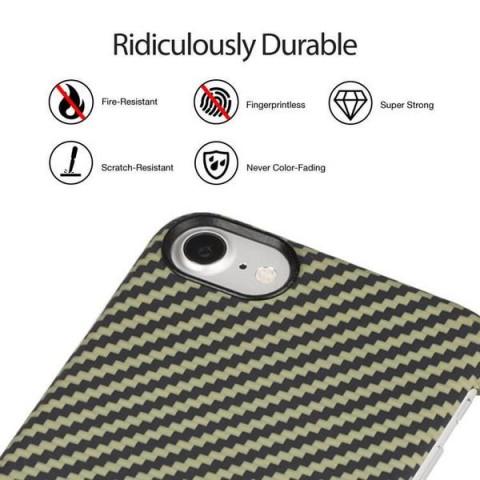 Карбоновый чехол Pitaka MagEZ Case для iPhone 8 черно-зеленый в полоску