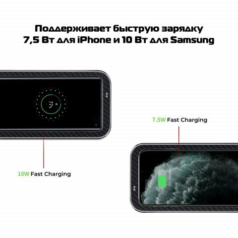 Беспроводная зарядка Pitaka Air Essentia для телефона, арамид/хром алюминий
