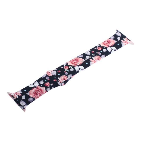Ремешок силиконовый COTEetCI W38 Flowers (WH5265-BK) для Apple Watch 40мм/ 38мм Black roses Черная роза
