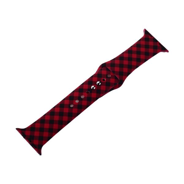 Ремешок силиконовый COTEetCI W45 Color (WH5279-RB) для Apple Watch 44мм/ 42мм Red and black grid Красно-черная клетка