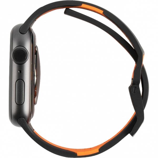 Ремень силиконовый UAG Civilian Strap для Apple Watch 44/42 черно/оранжевый (Black/Orange)