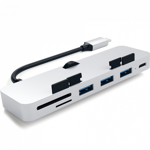 USB-хаб и картридер для iMac 2017 Satechi Type-C Aluminum Clamp Hub Pro Silver