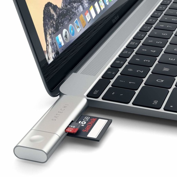 Картридер Micro/SD Satechi Type-C USB 3.0 для MacBook 12 ST-TCCRAS (Серебристый)