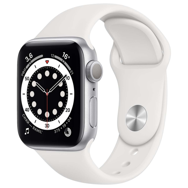 Смарт-часы Apple Watch S6 44mm Silver Aluminum Case with White Sport Band M00D3RU/A