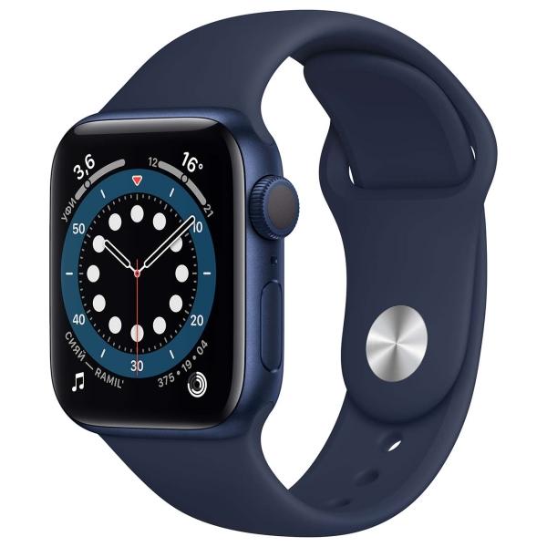 Смарт-часы Apple Watch S6 40mm Blue Aluminum Case with Deep Navy Sport Band MG143