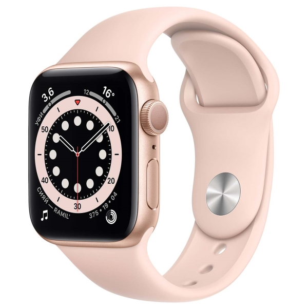 Смарт-часы Apple Watch S6 40mm Gold Aluminum Case with Pink Sand Sport Band MG123RU/A