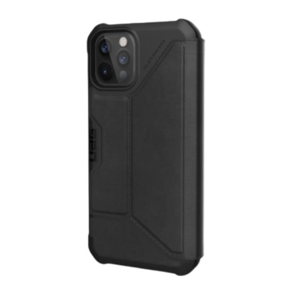 """Чехол-книжка Uag Metropolis кожа для iPhone 12 Pro Max 6.7"""" черный (LTHR ARMR Black)"""