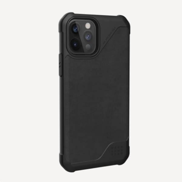 """Кожаный чехол Чехол Uag Metropolis LT кожа для iPhone 12 Pro Max 6.7"""" черный (Black)"""