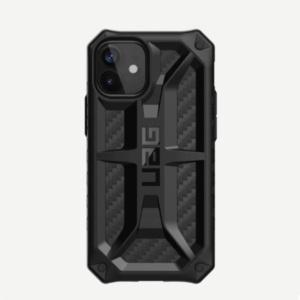 Противоударный чехол Uag Monarch Carbon iPhone 12 mini 5.4 чёрный карбон (Carbon Fiber)