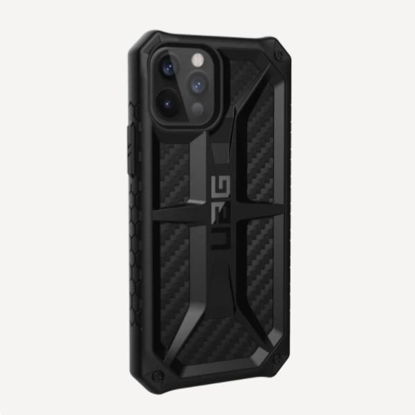 """Противоударный чехол Uag Monarch для iPhone 12 6.1"""" чёрный карбон (Carbon Fiber)"""