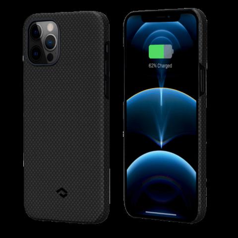 """Кевларовый чехол Pitaka MagEZ Case для iPhone 12 Pro 6.1"""", черно-серый шахматное плетение"""