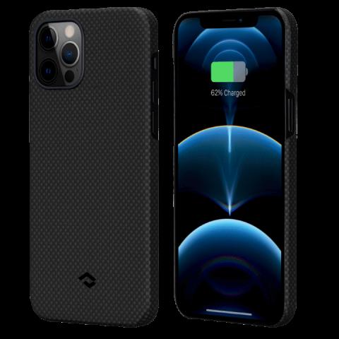 """Кевларовый чехол Pitaka MagEZ Case для iPhone 12 Pro Max  6.7"""", черно-серый шахматное плетение"""