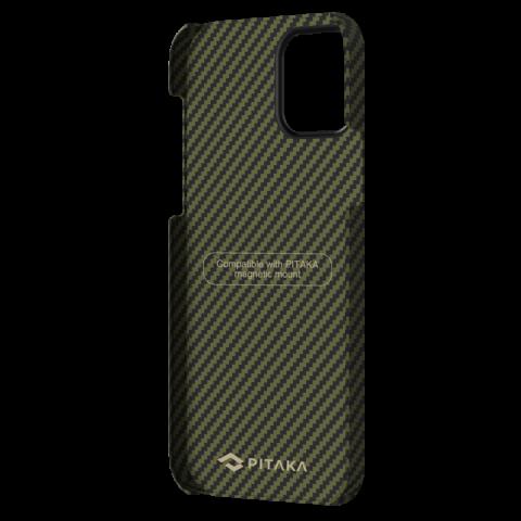 """Кевларовый чехол Pitaka MagEZ Case для iPhone 12 6.1"""", черно-зеленый"""