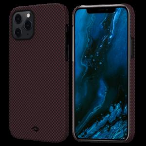 """Кевларовый чехол Pitaka MagEZ Case для iPhone 12 6.1"""", черно-красный шахматное плетение"""