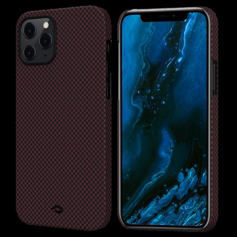 """Кевларовый чехол Pitaka MagEZ Case для iPhone 12 Pro Max  6.7"""", черно-красный шахматное плетение"""