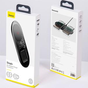 Беспроводное зарядное устройство Baseus Simple 2in1 (15W) Wireless Charger прозрачное/чёрное