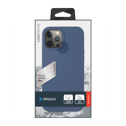 """Cиликон чехол Deppa Liquid Silicone Case для iPhone 12 Pro Max (6.7"""") синий"""