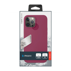 "Cиликон чехол Deppa Liquid Silicone Case для iPhone 12 Pro Max (6.7"") темно-красный"