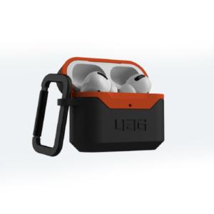 Противоударный чехол UAG Airpods Pro Hardcase V2, черный-оранжевый (Black/Orange)