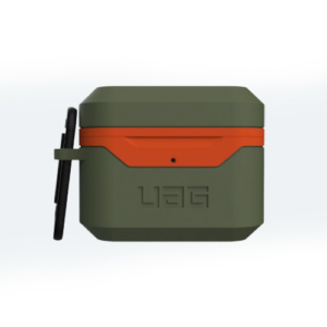 Противоударный чехол UAG для Airpods Pro Hardcase V2, оливковый-оранжевый (Olive/Orange)