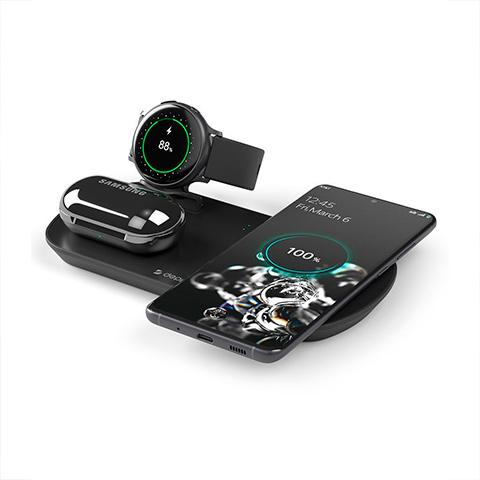 Беспроводное зарядное устройство Deppa Qi 3 в 1: Qi, Galaxy Watch, Galaxy Buds 17.5W