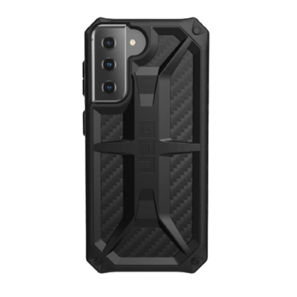 Противоударный чехол Uag Monarch для Samsung Galaxy S21 чёрный карбон (Carbon Fiber)