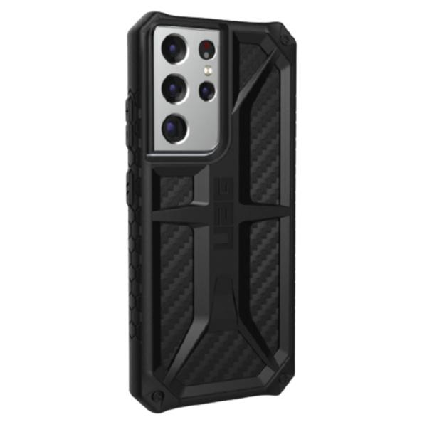 Противоударный чехол Uag Monarch для Samsung Galaxy S21 Ultra чёрный карбон (Carbon Fiber)