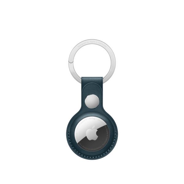 Кожаный брелок для AirTag с кольцом для ключей, цвет «балтийский синий»