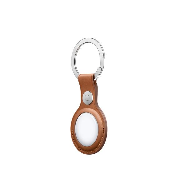Кожаный брелок для AirTag с кольцом для ключей, золотисто-коричневый цвет